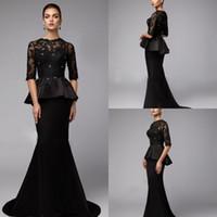 siyah yarı kollu uzun elbiseler toptan satış-Peplum Siyah Mermaid Anne Gelin Elbiseler Ucuz Uzun Kollu dantel Düğün Konuk Elbise Artı Boyutu Yarım Kollu Boncuk Anneler Damat Elbiseler