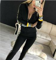 zweiteilige strickjacke großhandel-Marke FF Frauen Jacken + Hosen Sportanzug Frauen Hoodie Reißverschluss Strickjacke Hosen Anzüge Designer Trainingsanzug Zweiteilige Setwo Kleidung Sets
