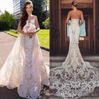 Wholesale gold wedding dress bridal gown online - Sheer Jewel Neck Mermaid Wedding Dresses with Detachable Train Modest Lace Applique Backless Garden Beach Bridal Wedding Gown