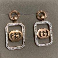 büyük kristal elmaslar toptan satış-En ünlü marka Titanyum çelik büyük gül altın dangle bırak Küpe deluxe kare Kadınlar tam elmas parti Küpe güzel Takı toptan