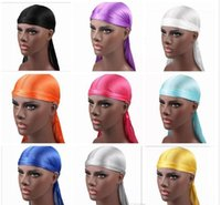 Wholesale grey fashion wigs resale online - Purple blue colors New Fashion Men s Satin Durags Bandana Turban Wigs Men Silky Durag Headwear Headband Pirate Hat Hair Accessories