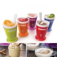 milkshake dondurmalar toptan satış-5 Renkler Yaratıcı Meyve Suyu Fincan Meyve Kum Dondurma ZOKU Rüşvet Sarsıntı Makinesi Slushy Milkshake Smoothie Fincan Hidrasyon Dişli CCA11551 60 adet