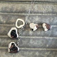 colar letra c venda por atacado-Top fábrica de qualidade atacado famoso aço marca Titanium casamento de luxo de jóias set Mulheres Charme amor coração letra A B C M brincos colar