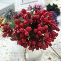 ingrosso bacche artificiali-12 Pz / pacco Simulazione Artificiale Plum Berries Star Keiko Stamens Mazzi di fiori / ghirlanda di fai da te Decorazione di cerimonia nuziale