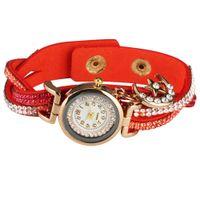 vogue quarzuhr großhandel-Exquisite Diamant-verkrustete Strap Moon Anhänger Uhren Vogue Weiß Arabisch Digitales Zifferblatt Frauen Quarzuhr Elegante Armreif Armbanduhr