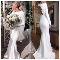 Wholesale elegant slim wedding dresses for sale - Group buy Elegant Simple Slim Mermaid Wedding Dresses Long Sleeves With Flowers Adorned Open Back Formal Bridal Gowns Vestidos De Mariee