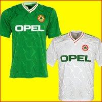 takımlar için futbol formaları toptan satış-Ireland soccer jersey football shirt Üst tayland 1990 1992 İrlanda RETRO futbol forması futbol forması İrlanda Cumhuriyeti Milli Takım Formaları 90 Dünya kupası futbol kiti yeşil
