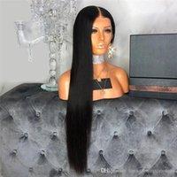 brasilianische menschliche haarlinie großhandel-13x6 Lace Front Echthaar Perücken Pre Zupfspitze Brasilianische Remy Gerade Volle Spitzeperücke Mit Dem Babyhaar