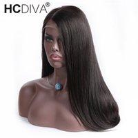 parte frontal del cordón frontal al por mayor-Frente del cordón Pelucas de cabello humano Brasileño de la Virgen Pelo Recto Parte media del cordón Frontal pelucas para mujeres negras por desplumado 150% densidad