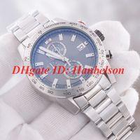 bracelet de calendrier achat en gros de-NOUVEAUX hommes regardent entièrement en acier inoxydable Japon mouvement à quartz Chronographe cadran gris calendrier montre-bracelet