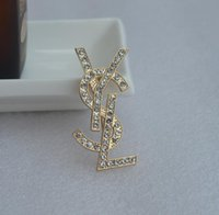 broş taşlar toptan satış-Moda Kristal Rhinestone ile Broşlar Y Marka Mektup Broş Pins Kadınlar için Parlayan Taş ile Broşlar Takı Kostüm Dekorasyon