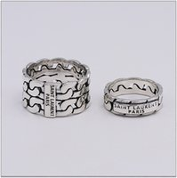 Wholesale men fashion hand bands for sale - Group buy Fashion Brand designer silver Nightclub YS Hip hop jewelry vintage antique silver hand made Hip hop men and woman L rings gift