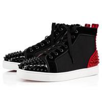 zapatos de punta en línea al por mayor-Nueva moda Zapatillas de deporte con fondo rojo Zapatos Hombres, Mujeres Zapatillas de deporte al aire libre Monopatín de lujo Picos de tacón alto Caminatas casuales Compras en línea