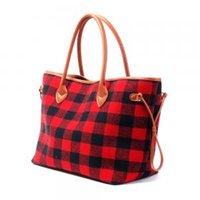 rote flanell frauen großhandel-Frauen Tote Bag Schwarz Rot Plaid handtaschen Flanell Weihnachten Mode Handtasche Mit Kunstleder Griff Boden Aufbewahrungsbeutel GGA1488