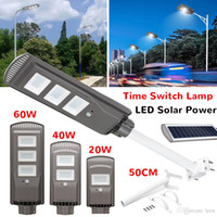 Wholesale timed lights resale online - 20 W Solar Powered Panel LED Solar Street Light All in Time Switch Waterproof IP67 Wall Lighting Lamp for Outdoor Garden