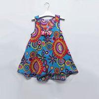 niedliche mädchen-stil großhandel-gute Qualität Floral National Style Girls Beach Casual Kleider Cute Bohemian Sleeveless Kinderbekleidung