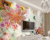 Wholesale bedroom art photos flowers online - 3d room wallpaper custom photo mural d luxury jewelry flower European TV background home decor wall art pictures wallpaper for walls d