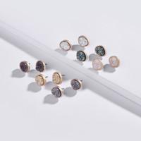 ovalo de jade al por mayor-Caliente Nueva Moda Joyería de Moda Mujeres Studs Pendientes de Cristal de Cuarzo Oval Quartze Druzy Botón Studs Pendientes