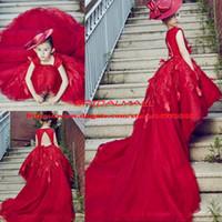 habillement achat en gros de-Vin Rouge Perles Applique Tulle Filles Pageant Robes 2019 Dos Nu Modèle De Défilé Robes De Fête Des Enfants Glitz Enfants Communion Pettiskirts