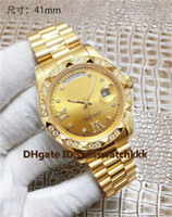 diamante suizo 18k al por mayor-2019 Nuevos relojes de pulsera para hombre Suizo Mecánico automático Fecha Pantalla Cristal de zafiro Diamante Bisel Oro 18K Caja sólida Volver Reloj para hombre 41 mm