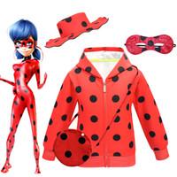 Wholesale mask clothing resale online - 4pcs set Ladybug Big Girl Zipper shirt Clothes Cartoon Children Stage Role Eye Mask Hat bag set Dress Up Halloween Cosplay Costumes