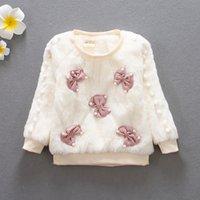 ingrosso maglioni bianche-Cute Baby Girl Inverno 2018 manica lunga vestiti maglioni con pelliccia Natale bambini Neonata bianco maglione