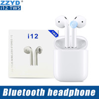 Wholesale wireless earphones online - ZZYD i12 TWS Touch Wireless Earbuds Double V5 Bluetooth Headphones ture stereo Earphones wireless headset earbuds with touch control SIRI