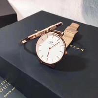 conjunto de pulseira de quartzo venda por atacado-Qualidade superior Daniel Wellington Relógios e Pulseiras 2 pcs Conjuntos de Aço Inoxidável Strap Quartz DW Relógios Jóias Presente Das Mulheres 32mm Dial Atacado