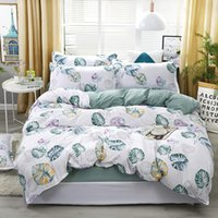 roupa de cama padrão azul venda por atacado-Azul Banana Folha Padrão Conjunto de Cama Lençóis Capa de Edredão Folha de Cama Fronhas Capa Set Para 1.2 / 1.5 / 1.8 / 2 / 2.2 m