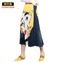 şemsiye etek moda toptan satış-Cr En Moda İlkbahar Yaz Kadın Etekler 2019 Zarif Bayanlar Yüksek Bel Karikatür Desenler Baskı Orta Buzağı Şemsiye Pileli Etek S19713