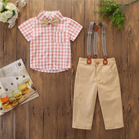 мальчики одеваются для свадьбы оптовых-Baby Boy Clothes Kids Formal Gentleman Dress Strap Shirt Pants Bowtie Boy Suit For Weddings Prom Bebek Giyim summer style