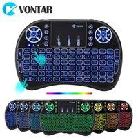 oem tv box großhandel-VONTAR i8 drahtlose Tastatur Russisch Englisch Hebräisch Version i8 + 2,4 GHz Air Mouse Touchpad Hand für Android TV BOX Mini-PC