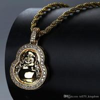 ingrosso oro di buddha-Ciondolo Buddha in argento a forma di zucca d'oro Rame Full Zicron Hip Hop Gioielli Designer Corda per gioielli Catena ghiacciata Catene da uomo