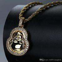 altın kabuğu toptan satış-Gümüş Altın Kabak Şeklindeki Buda Kolye Bakır Tam Zicron Hip Hop Takı Tasarımcısı Takı Halat Zincir Buzlu Out Zincirleri Mens Kolye