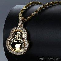 cabaça de ouro venda por atacado-Ouro em forma de cabaça em forma de pingente de cobre cobre cheio zicron hip hop jóias designer de corda de jóias cadeia de contas fora colar