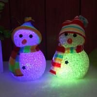 bonecos de neve do boneco de neve venda por atacado-Boneco de neve de natal Luzes de cristal LED Boneco de neve de Natal com luzes Boneca de Natal Luzes da noite coloridas Decorações do partido RRA1997