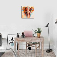 Wholesale elephant painting resale online - Hot sales Wholesales Hot sales PC Frame Modern Style Abstract Colorful Elephant Inkjet Printing