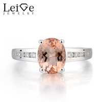 Wholesale morganite rings resale online - Leige Jewelry Morganite Engagement Ring Natural Pink Morganite Ring Oval Cut Pink Gemstone Sterling Silver Gifts for Women