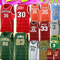 bordados caril camisa de basquete venda por atacado-NCAA Stephen 30 Mens Curry 35 Kevin Durant Jersey ensino médio 23 LeBron James bordado Logos Basketball Jerseys