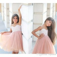 Wholesale blush short strapless party dress resale online - Elegant Pink Knee Length Short Flower Girl Dresses Lovely Illusion Neck Pearls Sleeveless Blush Tulle Birthday Party Wedding Kids Dresses