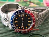 eski kırmızı saat toptan satış-2019 kutu Mens Yüksek Kalite Klasik 40mm Vintage GMT 1675 Kırmızı Mavi Pepsi Bezel Jubilee Bilezik Asya 2813 Movemen Otomatik Mens Saatler