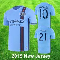 camisa de futebol new york venda por atacado-New York City FC 2019 Casa Azul Camisa de Futebol nycfc MLS PIRLO MORALEZ LAMPARD DAVID VILLA MCNAMARA MEDINA Camisa de Futebol 2XL Top Quality