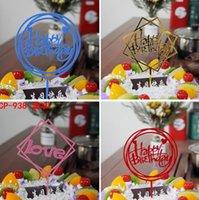 ingrosso torte di ragazzi-Glitter Happy Birthday Cake Topper Acrilico Lettera Oro argento Cake Top Bandiera Decorazione per Boy Birthday Party Wedding Supplies GA694