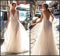 Wholesale sexy open back wedding dresses online - 2019 New Berta Lace Wedding Dresses Backless V Neckline Illusion Bodice Floor Length Sexy Open Back Bridal Gowns