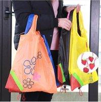 sacs d'épicerie se pliants en nylon achat en gros de-Eco Storage Sac À Main Fraise Pliable Sacs à provisions Réutilisable Pliant Épicerie En Nylon Sac Grande Capacité Maison Fourre-Tout Pochette
