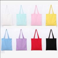 Wholesale hand bags for sale - Group buy Plain single shoulder canvas bag hand painted Students Girls bag Zipper shopping bags handbag DIY LJJV430