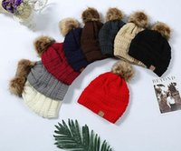 Wholesale winter hat beanie skull cap resale online - Multi Color Parents Kids CC caps Family Match Hats Kidscourful Hats Knitted Fashion Trendy Beanie Winter Over sized Chunky Skull Caps Soft