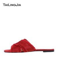 koyu mavi kadifeli toptan satış-Kadın Çapraz Bant Kırmızı Süet Terlik Siyah Saten Saçak Plaj Ayakkabıları Koyu Mavi Kadife Düz Sandalet Tatil Ayakkabı Toptan 2019 ücretsiz kargo