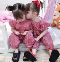 Wholesale baby red overalls for sale - Group buy INS Toddler kids jumpsuits new baby girls plaid falbala fly sleeve jumpsuits kids Bows overall fashion baby cotton bodysuit A01424