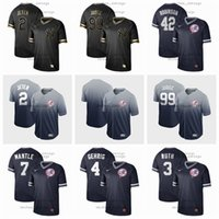camo beyzbol formaları toptan satış-Erkek Kadın Çocuk New York Jersey Yankees 2 Jeter 99 Yargıç 42 Robinson 7 Manto 4 Gehrig Camo Moda Yıldız Beyzbol Flexbase Siyah altın Jersey